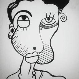 people portrait inked pen blackandwhite
