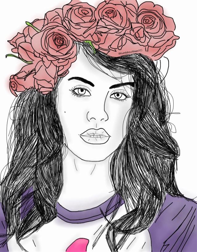 #lanadelrey #younglana #interesting #madeit #tumblr #outline #drawing #tumblroutline #tumblrdrawing #aesthetic #queen #sadgirlsclub #flowercrown #FreeToEdit