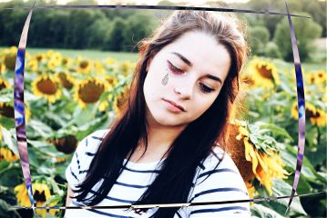 freetoedit teardrop girl sunflowers eyelashes