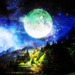 FreeToEdit moon mountain galaxy