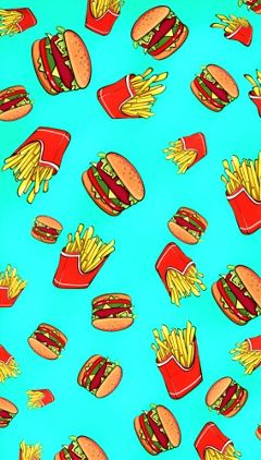 iphonewallpaper junkfood burgers fries colorful pattern silly FreeToEdit