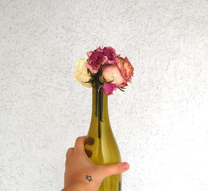 #UglyHandDontCare #flowers in a #WineBottle #minimal #minimalist #HighContrast