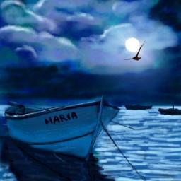 wdpnightsky drawing night moon sea art digitalart