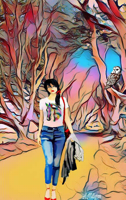 #wapmagiceffects Entered again for magiceffects 😊  #colorsplash  #colorful  #trees  #road  #people  #walking  #beautiful  #girl  #edit 😊💚❤