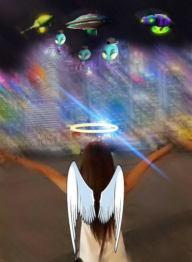 #myangel #aliens #flying saucers #high rise building #motionlblur