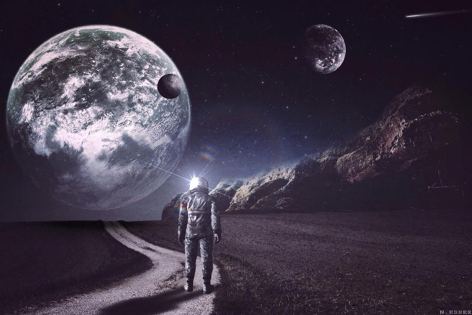 #space #landscape #explore #planets #stars #galaxy #view #astronaut #eerie #dark #surrealism #surreal #mobileart #ipadart #digitalart #photoediting