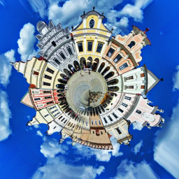 freetoedit tinyplanet city square clouds