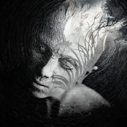 FreeToEdit darkart dark blackandwhite sadness woman artistic crumble mystery sadness woman womanportrait solitude