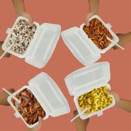 freetoedit worms macaroni food hands