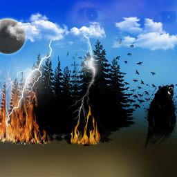 eclipse lightening forestfire angryscaredforestcreatures